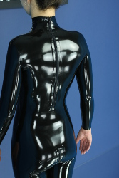 made-to-measure latex catsuit with zipper - basic model - zipper on back + separate zipper in crotch