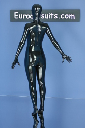 made-to-measure latex catsuit with attached latex mask , gloves and socks