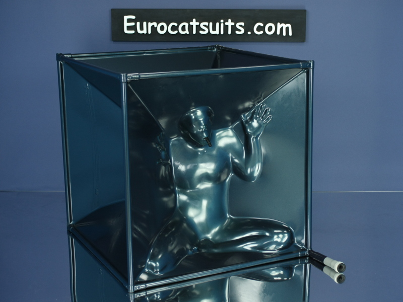 airtight latex vacuumcube in metallic black , with stailess steel frame