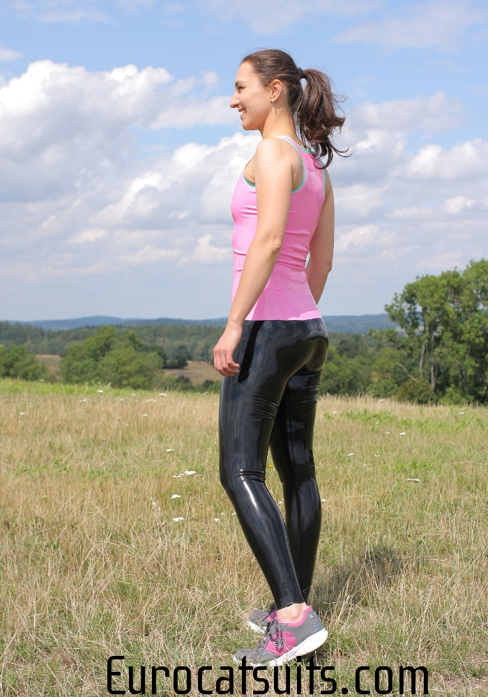 black latex leggings and pink latex tank top
