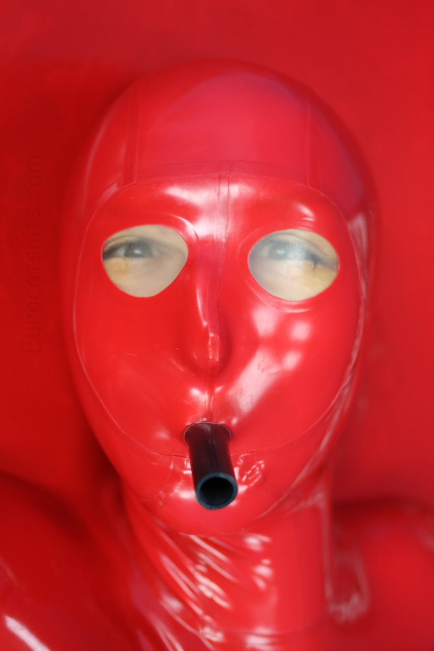 red latex vacbed with attached mask ( transparent latex lens + attached latex hose) . Click to see full resolution image.
