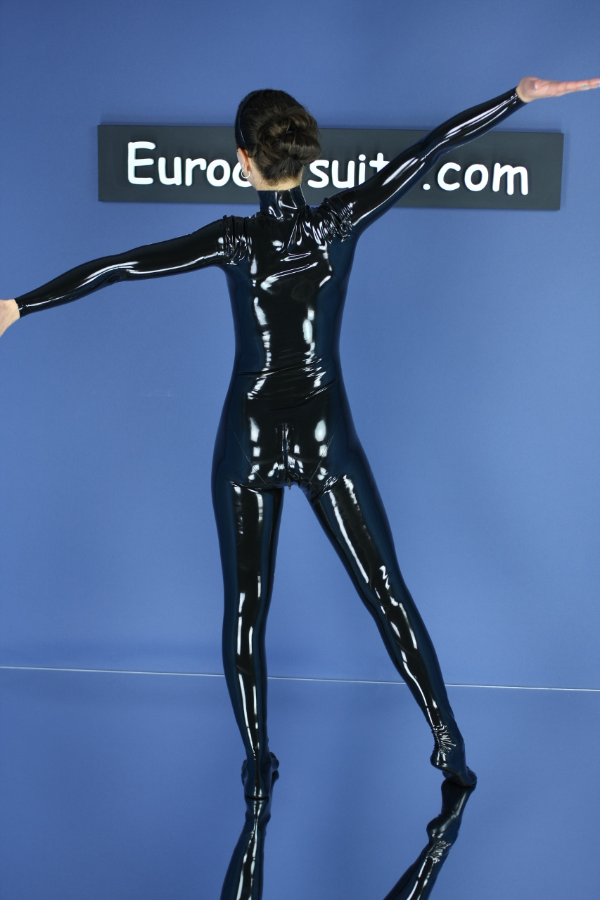 made to measure black latex catsuit without zipper - rear