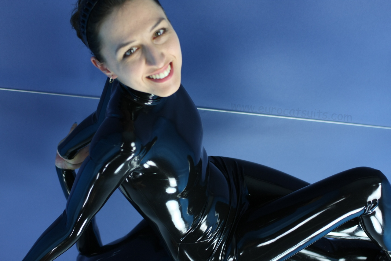 made to measure black latex catsuit without zipper - from above