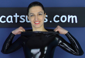 zipperless latex catsuit