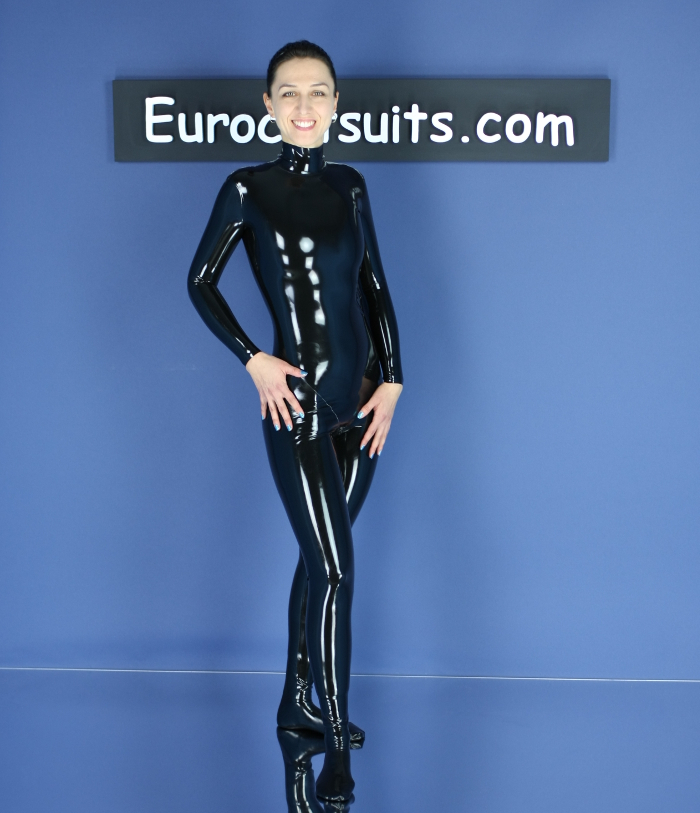 black latex catsuit without zipper - front - thumbnail